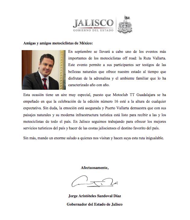 Carta del Gobernador de Jalisco