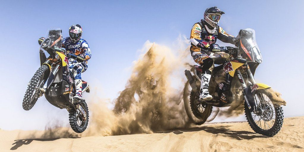 Marc Coma and Kurt Caselli rides during the preparations of Dakar 2014 in Arfoud, Morocco, on October 9th, 2013
